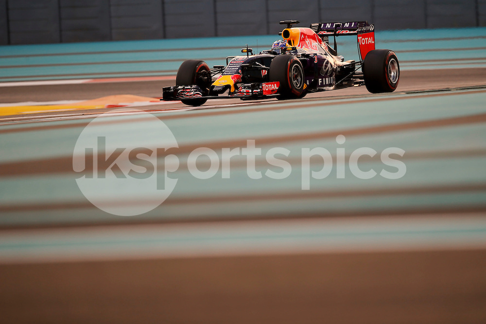 Daniel Ricciardo of Australia and Infiniti Red Bull Racing drives during the qualifying session of the 2015 Formula 1 Etihad Airways Abu Dhabi Grand Prix at Yas Marina Circuit, Abu Dhabi, United Arab Emirates on 28 November 2015. Photo by James Gasperotti.