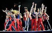 Sep 21, 2008; San Jose, CA, USA; Gymnasts perform during the 2008 Tour of Gymnastics Superstars post-Beijing Olympic tour at HP Pavilion in San Jose, CA. Mandatory Credit: Kyle Terada-Terada Photo