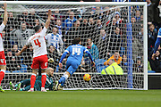 Inigo Calderon scores Brighton's second goal during the Sky Bet Championship match between Brighton and Hove Albion and Birmingham City at the American Express Community Stadium, Brighton and Hove, England on 21 February 2015.