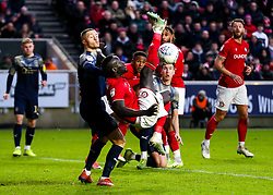 Famara Diedhiou of Bristol City attempts an acrobatic shot - Rogan/JMP - 18/01/2020 - Ashton Gate Stadium - Bristol, England - Bristol City v Barnsley - Sky Bet Championship.