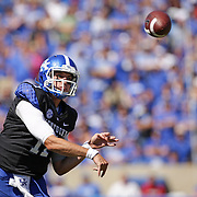 UK quarterback Maxwell Smith throws to one of his receivers in the first quarter as the University of Kentucky plays the University of Louisville at Commonwealth Stadium in Lexington, Ky. Saturday Sept. 14, 2013. Photo by David Stephenson