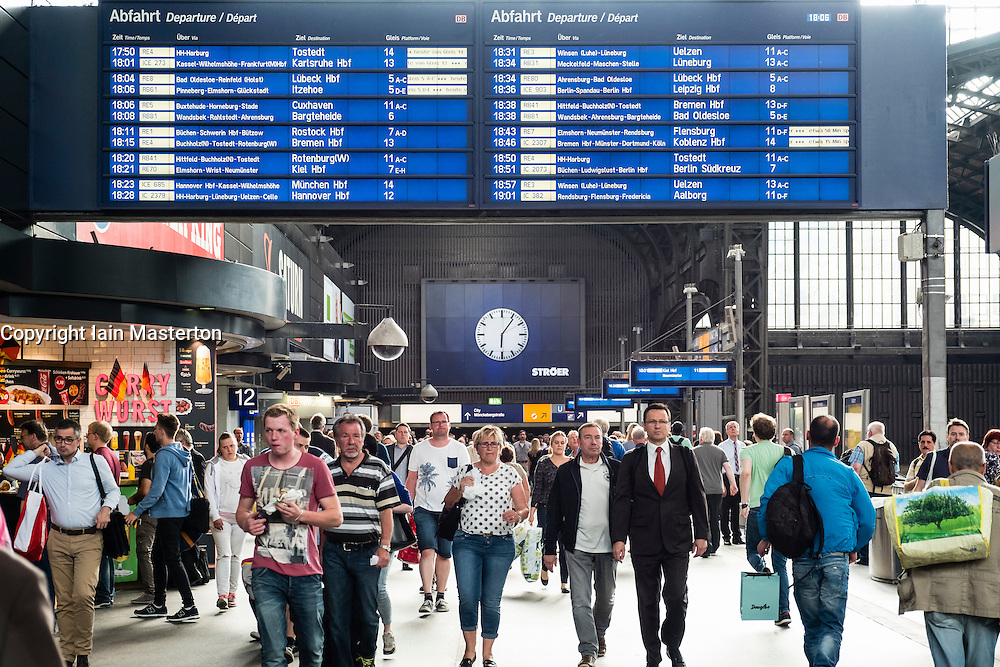 Busy concourse of Hamburg Hauptbahnhof, main railway  station in Germany