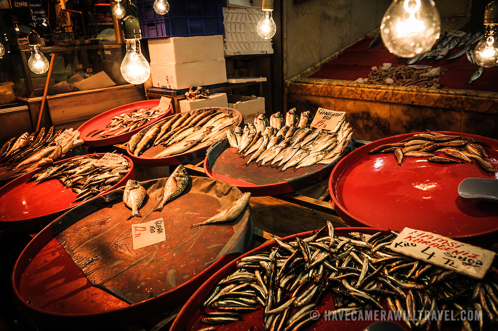 Fresh fish for sale at a fish store next to the Spice Bazaar (also known as the Egyption Bazaar) in Istanbul, Turkey.