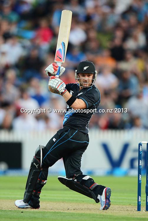 Captain Brendon McCullum batting. ANZ T20 Series. 2nd Twenty20 Cricket International. New Zealand Black Caps versus England at Seddon Park, Hamilton, New Zealand. Tuesday 12 February 2013. Photo: Andrew Cornaga/Photosport.co.nz