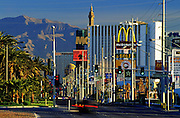 Image of hotels and restaurants along The Strip in Las Vegas, Nevada, American Southwest