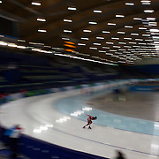 Winter Olympics, Vancouver, 2010.A Canadian athlete training at the Speed Skating venue at Richmond Oval in preparation for the Long Track Speed Skating event at the Winter Olympics. 8th February 2010. Photo Tim Clayton