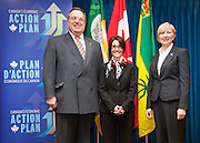 Group photo, left to right: Mayor Atchison, MP Block, MLA Wilson. Saskatoon-Rosetown-Biggar Member of Parliament Kelly Block, Saskatchewan Rivers MLA Nadine Wilson and Saskatoon Mayor Don Atchison announce funding for 15 new infrastructure projects, including three local road projects worth $800,000.