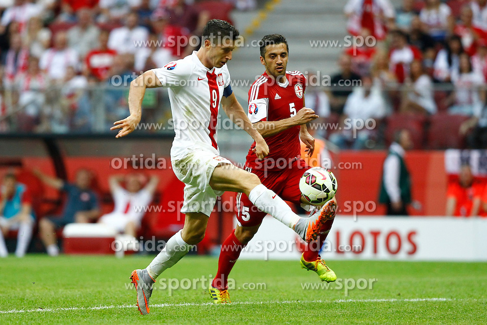 13.06.2015, Nationalstadion, Warschau, POL, UEFA Euro 2016 Qualifikation, Polen vs Greorgien, Gruppe D, im Bild robert lewandowski, bramka gol goal celebration // during the UEFA EURO 2016 qualifier group D match between Poland and Greorgia at the Nationalstadion in Warschau, Poland on 2015/06/13. EXPA Pictures &copy; 2015, PhotoCredit: EXPA/ Pixsell/ FOT. ARTUR PODLEWSKI / 058sport.pl<br /> <br /> *****ATTENTION - for AUT, SLO, SUI, SWE, ITA, FRA only*****