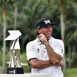 October 15, 2017 - Kuala Lumpur, Malaysia - PAT PEREZ of USA smiles during the trophy ceremony after winning the CIMB Classic golf tournament, at TPC Kuala Lumpur. (Credit Image: © Chris Jung via ZUMA Wire)