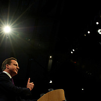 Prime Minister DAVID CAMERON addresses delegates in his leader's speech during the Conservatives Party Conference at Manchester Central.