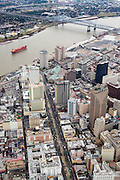 aerial view of Canal Street and the Mississippi River in downtown New Orleans, Louisiana