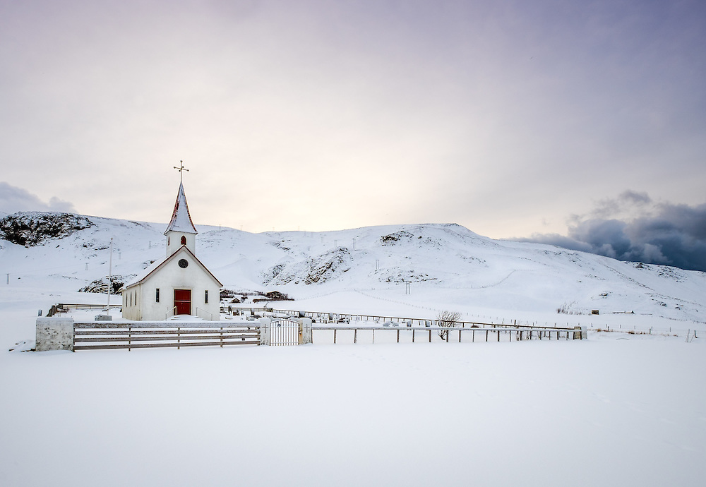 VIK, ICELAND - CIRCA MARCH 2015: Reyniskirkja, a Lutheran church near Vik in Iceland. It's built against Mt. Reynisfjall on the road down to Reynisfjara.
