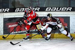 28.12.2013, OlympiaWorld Arena, Innsbruck, AUT, EBEL, HC TWK Innsbruck vs HC Orli Znojmo, 60th Game Day, in picture Lukas Jurik (HC TWK Innsbruck, #15) vs Adam Havlik (HC Orli Znojmo, #88) during the Erste Bank Icehockey League 60th Game Day match between HC TWK Innsbruck and HC Orli Znojmo at the OlympiaWorld Arena, Innsbruck, Austria on 2013/12/28. (Photo By Matic Klansek Velej / Sportida)