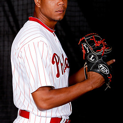 February 22, 2011; Clearwater, FL, USA; Philadelphia Phillies pitcher Juan Perez (84) poses during photo day at Bright House Networks Field. Mandatory Credit: Derick E. Hingle