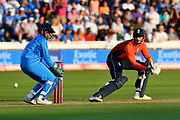 Alex Hales of England hits the ball to the boundary for four runs during the International T20 match between England and India at the SWALEC Stadium, Cardiff, United Kingdom on 6 July 2018. Picture by Graham Hunt.
