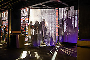 Baltimore, Maryland - May 17, 2018: Shadows of attendees at the World Armwrestling League Supermatch Showdown Series at Rams Head Live in Baltimore, Thursday May 17th, 2018. Bleacher Report Live is the exclusive broadcaster of the event. With the recent advent of online video streaming services, niche sporting leagues are now able to sign broadcast deals. <br /> <br /> <br /> CREDIT: Matt Roth for The New York Times<br /> Assignment ID: 30219819A