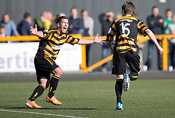 Alloa Athletic's Iain Flannigan celebrates after scoring their second goal.<br /> Alloa Athletic 2 v 1 Hibernian, Scottish Championship game played 30/8/2014 at Alloa Athletic's home ground, Recreation Park, Alloa.