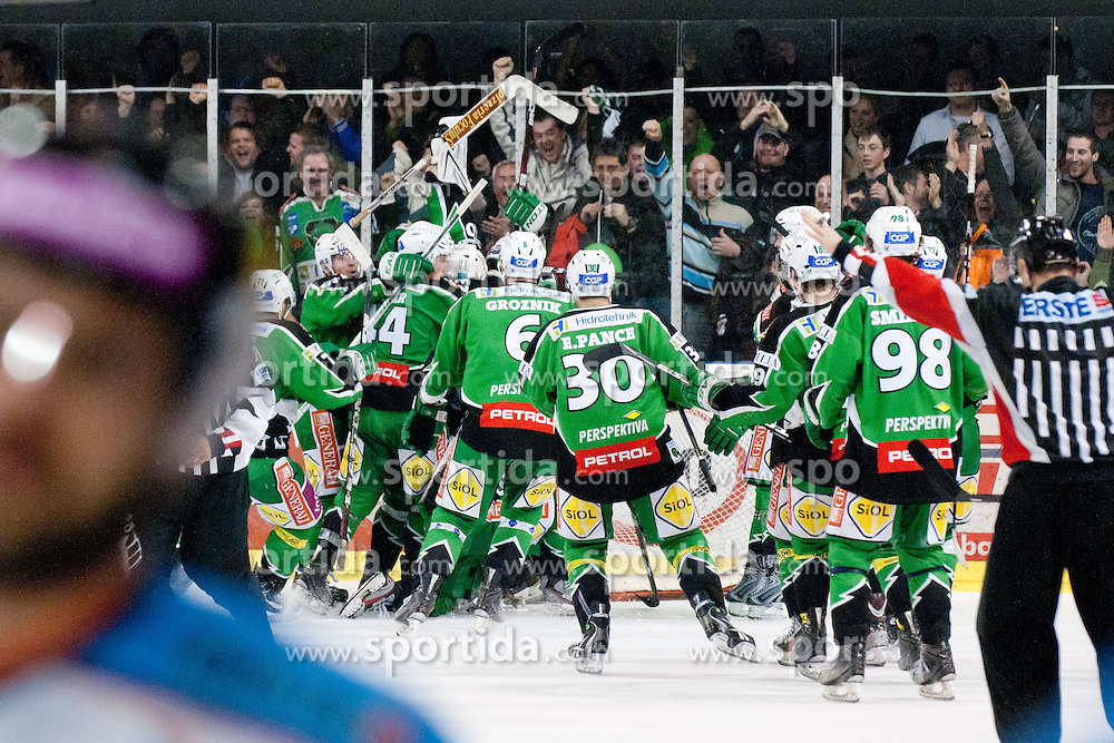 Big happiness after victory of HDD Tilia Olimpija during ice-hockey match between HDD Tilia Olimpija and SAPA Fehervar AV19 at sixth match in Quarterfinal  of EBEL league, on March 1, 2012 at Hala Tivoli, Ljubljana, Slovenia. HDD Tilia Olimpija won 4:3 and advanced to semifinal. (Photo By Matic Klansek Velej / Sportida)