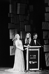 Lucy Durack, Delta Goodrem and David Campbell at the Rob Guest Endowment Gala event 2015, taken at the Lyric Theatre in Sydney, on Monday, 9 November 2015.  <br /> <br /> Hosted by David Campbell and Lucy Durack, guest artists performing at the concert included musical theatre performers Rob Mills, Caroline O'Connor and Jemma Rix, Dirty Dancing star Mark Vincent, 2014 Rob Guest Endowment winner Josh Robson, and cast members from CATS and Matilda the Musical.<br /> <br /> The six finalists for the 2015 Rob Guest Endowment are Blake Appelqvist (West Side Story, new VCA Graduate), Daniel Assetta (Cats, Wicked), Hilary Cole (Carrie, Dogfight), Georgina Hopson (Into The Woods, The Pirates of Penzance), Rob McDougall (Les Miserables, Phantom of the Opera) and Ashleigh Rubenach (Anything Goes, The Sound of Music).  The competition was judged by three of Australian musical theatre's finest creatives, Kelly Abbey, Peter Casey and Gale Edwards.<br /> <br /> The 2015 recipient was Daniel Assetta.