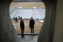 Jan Mursak and Andrej Vidmar at preparation of stadium Bezigrad for Winter Classic of HDD Olimpija called Telemach Ice Fest 2013, on December 27, 2012 in Stadium Bezigrad, Ljubljana, Slovenia. (Photo By Matic Klansek Velej / Sportida.com)