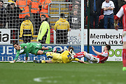 Rotherham United midfielder Lee Frecklington (8) scores goal to go 1-0 up  during the Sky Bet Championship match between Rotherham United and Leeds United at the New York Stadium, Rotherham, England on 2 April 2016. Photo by Ian Lyall.