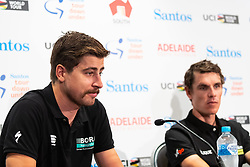 January 12, 2019 - Peter Sagan (L) at TDU Official Race Press Conference, with Mike Turtur, TDU Race Director, Daryl Impey (Mitchelton-SCOTT) 2018 TDU Champion, Peter Sagan (BORA-hansgrohe), Richie Porte (Trek-Segafredo) & Caleb Ewan (Lotto-Soudal), Tour Down Under, Australia on the 12 of January 2019  (Credit Image: © Gary Francis/ZUMA Wire)