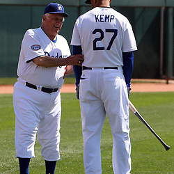 Los Angeles Dodgers former manager Tommy Lasorda with Matt Kemp (27) before a game at the Ballpark at Camelback Ranch on Wednesday, March 10, 2010, in Glendale,Arizona. (SGVN/Staff Photo by Keith Birmingham/SPORTS)