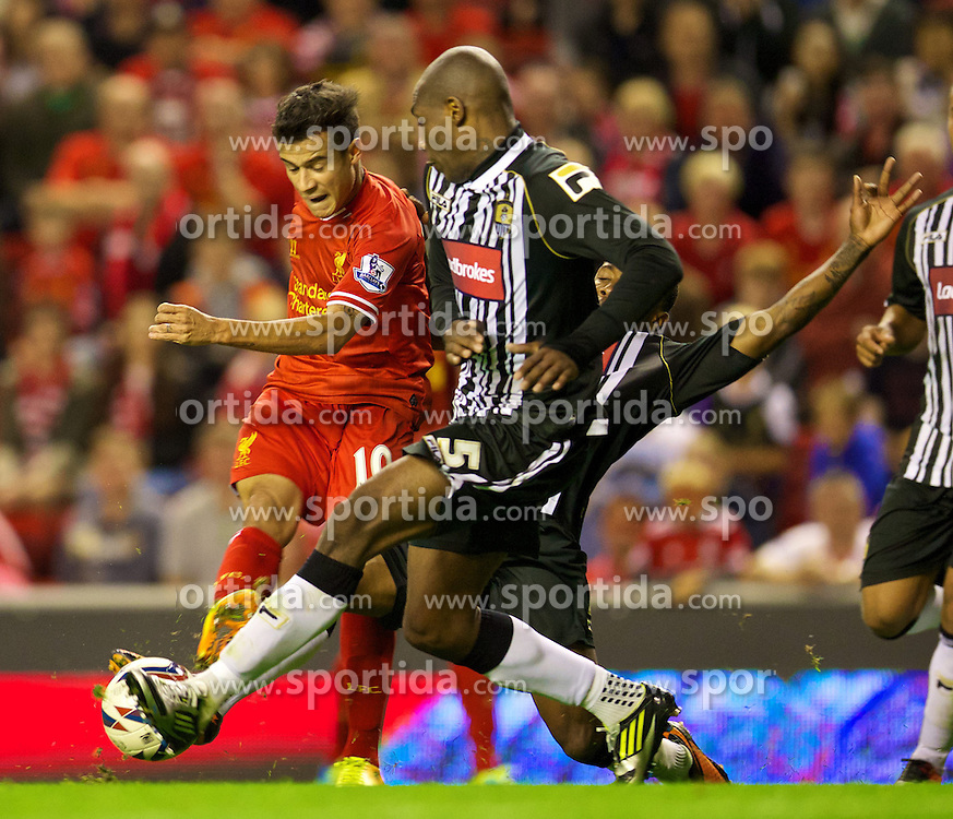 27.08.2013, Anfield, Liverpool, ENG, League Cup, FC Liverpool vs Notts County FC, 2. Runde, im Bild Liverpool's Philippe Coutinho Correia and Notts County's Manny Smith during the English League Cup 2nd round match between Liverpool FC and Notts County FC, at Anfield, Liverpool, Great Britain on 2013/08/27. EXPA Pictures &copy; 2013, PhotoCredit: EXPA/ Propagandaphoto/ David Rawcliffe<br /> <br /> ***** ATTENTION - OUT OF ENG, GBR, UK *****