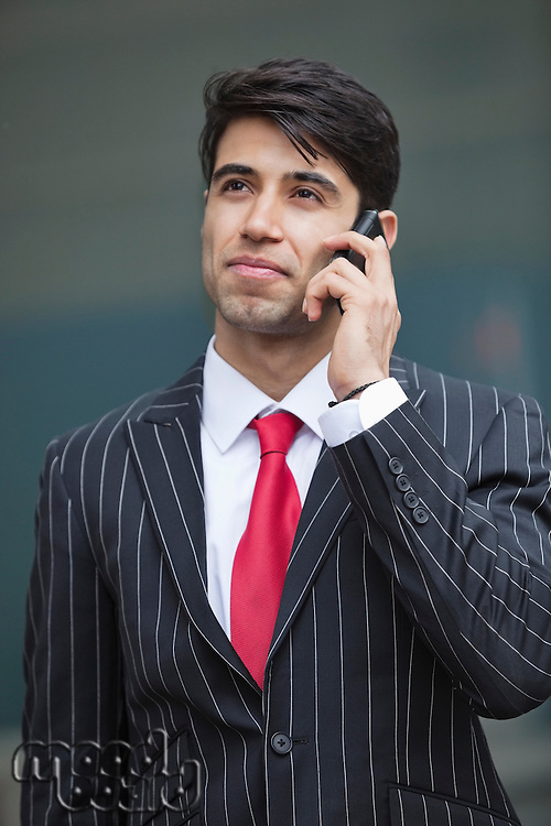 Young Indian businessman communicating on cell phone