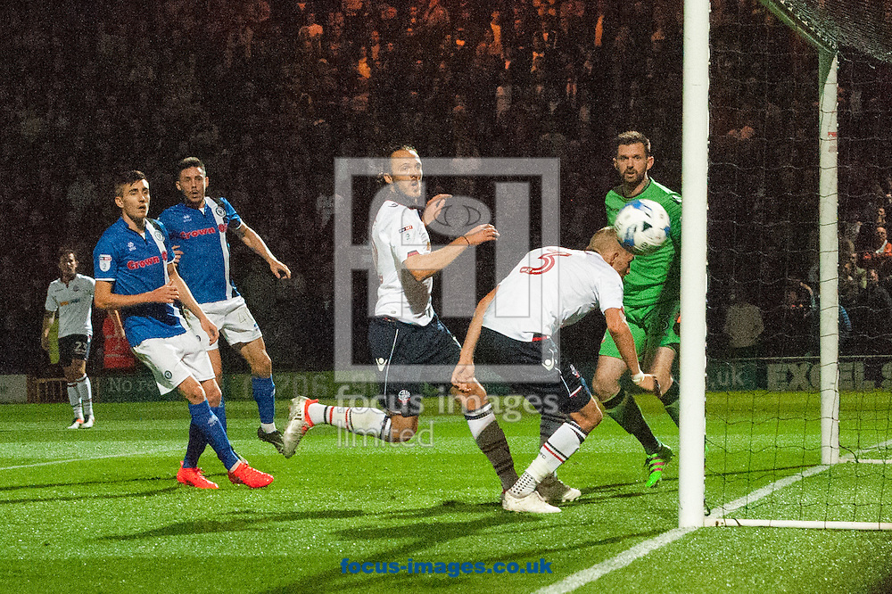 Dean Moxey of Bolton Wanderers ducks to avoid heading the ball in to his own net during the Sky Bet League 1 match at Spotland, Rochdale<br /> Picture by Matt Wilkinson/Focus Images Ltd 07814 960751<br /> 27/09/2016