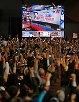 Barack Obama supporters cheer as Obama was named as the President Elect for the United States of America at a rally at Chicago's Grant Park for the election night results for the presidential race between Sen. Barak Obama (D-IL) and Sen. John McCain (R-AZ) Tuesday Nov. 4, 2008 Chicago IL.