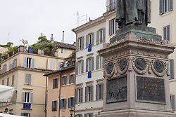May 25, 2019 - Roma, RM, Italy - On the occasion of the European elections that will take place tomorrow in Italy, some inhabitants of Rome at Piazza Campo dè Fiori have displayed the flags of Europe on their windows (Credit Image: © Matteo Nardone/Pacific Press via ZUMA Wire)