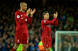 LIVERPOOL, ENGLAND - Sunday, March 3, 2019: Liverpool's Roberto Firmino and Fabio Henrique Tavares 'Fabinho' applaud the supporters after the goal-less draw during the FA Premier League match between Everton FC and Liverpool FC, the 233rd Merseyside Derby, at Goodison Park. (Pic by Paul Greenwood/Propaganda)
