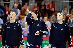 Barbara Varlec, Maja Son and Alja Jankovic of Slovenia at Women European Championships Qualifying handball match between National Teams of Slovenia and Belarus, on October 17, 2009, in Kodeljevo, Ljubljana.  (Photo by Vid Ponikvar / Sportida)