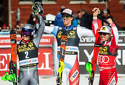 Second placed KRISTOFFERSEN Henrik of Norway, winner ZENHAEUSERN Ramon of Switzerland and third placed MATT Michael of Austria celebrate after the Audi FIS Alpine Ski World Cup Men's Slalom 58th Vitranc Cup 2019 on March 10, 2019 in Podkoren, Kranjska Gora, Slovenia. Photo by Matic Ritonja / Sportida