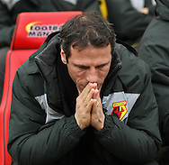 Picture by David Horn/Focus Images Ltd +44 7545 970036.09/03/2013.Gianfranco Zola , Head Coach of Watford deep in thought before the npower Championship match at Vicarage Road, Watford.