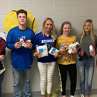 The Hamilton High School Student Council and Junior Women's League of Aberdeen joined together to collect socks for children in need during the month of October. Pictured, from left, Beth Mobley, Sam Frantz, Kealy Shields, Macy Crawford, Lindsey Tennyson and Nikki Hannah.