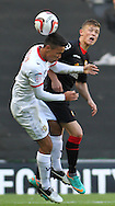 Picture by David Horn/Focus Images Ltd +44 7545 970036.29/09/2012.Adam Chicksen of Milton Keynes Dons and Max Clayton of Crewe Alexandra during the npower League 1 match at stadium:mk, Milton Keynes.