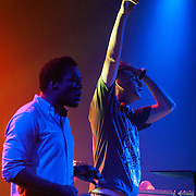 March 28, 2012 - New York, NY : British dubstep music producers (DJ's) Skream, at right, & Benga, at left, perform at the Best Buy Theater in Manhattan on Wednesday evening. CREDIT: Karsten Moran for The New York Times