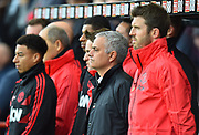 Manchester United manager Jose Mourinho stands with the substitutes for a minutes silence before the Premier League match between Bournemouth and Manchester United at the Vitality Stadium, Bournemouth, England on 3 November 2018.