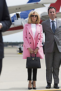 Emmanuel Macron and his wife Brigitte Macron arrive at Joint Base Andrews - 23 April 2018