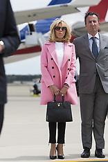 Emmanuel Macron and his wife Brigitte Macron arrive at Joint Base Andrews - 23 April 2018