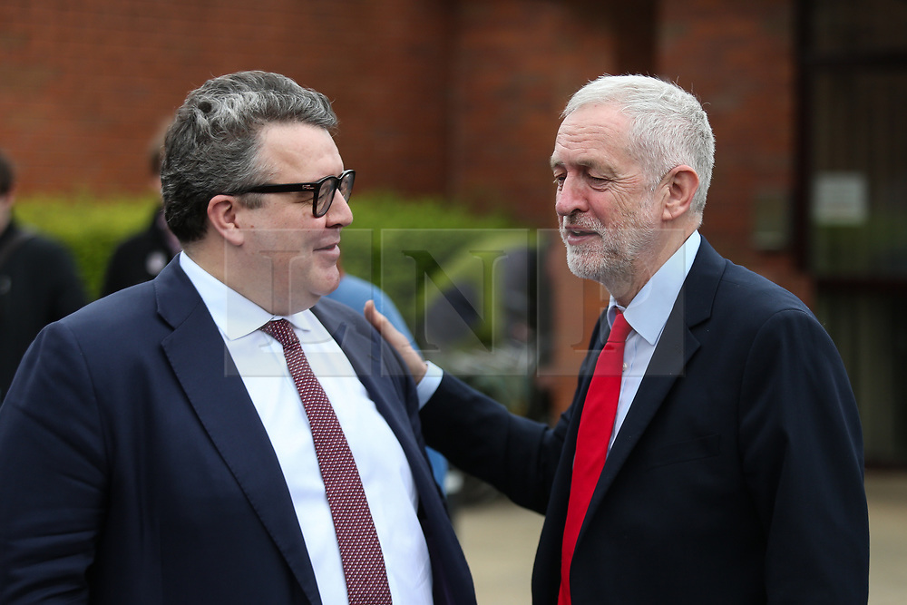 © Licensed to London News Pictures. 04/04/2017. Newark, UK. Labour leader Jeremy Corbyn speaks with deputy leader Tom Watson after attending a meeting in Newark to outline the party's aims in the upcoming local elections. Photo credit : Ian Hinchliffe/LNP