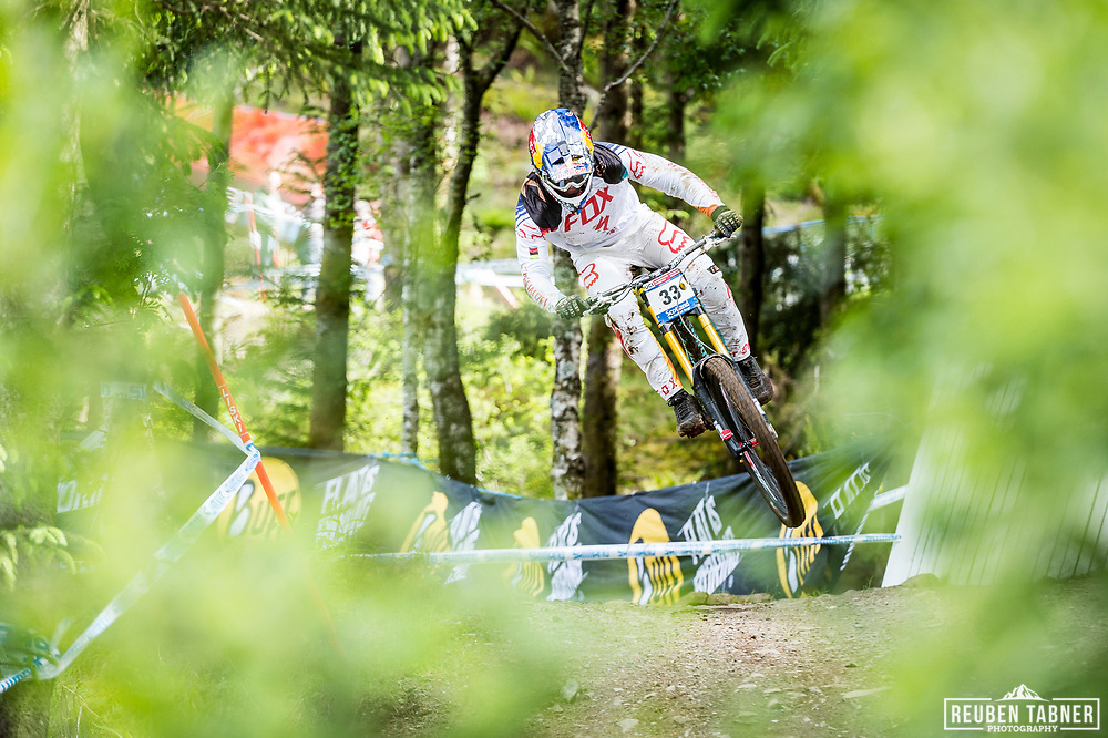 Loic Bruni of Specialized Gravity during his race run at the UCI Mountain Bike World Cup in Fort William.