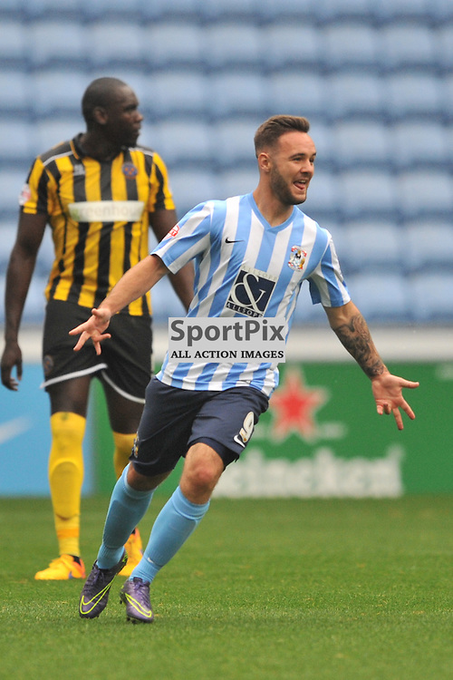 Coventrys Adam Armstrong celebrates after scoring his first goal, Coventry City v Shreswsbury Ricoh Arena, Football League One, Saturday 3rd October 2015
