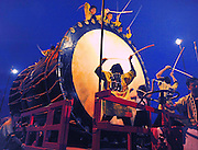 The Goshogawara Neputa  festival in northern Japan. Floats are made from wooden frames which are covered with rice paper that has been hand painted. The floats are pulled and some carried through the streets over a period of one week, each summer. Each float has members that do the pulling and carrying. Other members that play the flute, drums, and other musical instruments.