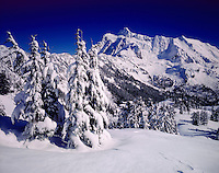 Mount Shuksan in winter from Kulshan Ridge, North Cascades National Park Washington USA