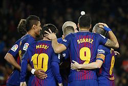 December 17, 2017 - Barcelona, Catalonia, Spain - Luis Suarez goal celebration during the La Liga match between FC Barcelona v Real Club Deportivo de La Coruna, in Barcelona, on December 17, 2017. (Credit Image: © Joan Valls/NurPhoto via ZUMA Press)