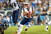 NASHVILLE, TN - AUGUST 17:  Nick Brossette #42 of the New England Patriots runs the ball during a game against the Tennessee Titans during week two of the preseason at Nissan Stadium on August 17, 2019 in Nashville, Tennessee.  The Patriots defeated the Titans 22-17.  (Photo by Wesley Hitt/Getty Images) *** Local Caption *** Nick Brossette