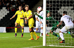 Billy Bodin of Bristol Rovers watches as his shot is saved by David Martin of Milton Keynes Dons - Mandatory by-line: Robbie Stephenson/JMP - 18/10/2016 - FOOTBALL - Stadium MK - Milton Keynes, England - Milton Keynes Dons v Bristol Rovers - Sky Bet League One